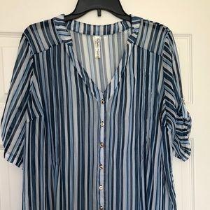 Sheer, striped women's 2X Blouse